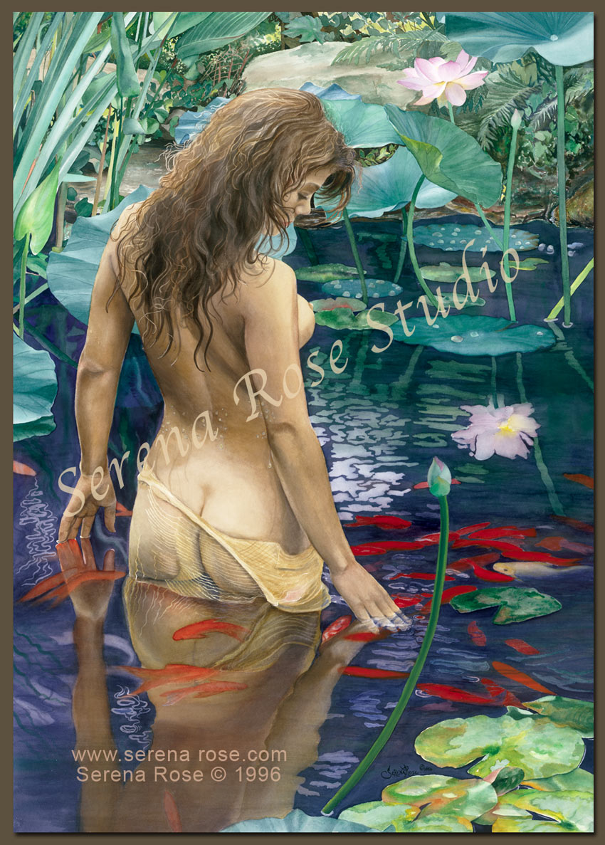 image of a young woman in the pond yearning to return to the natural world, to be at one with other living creatures, and to revel in the peace she finds there.