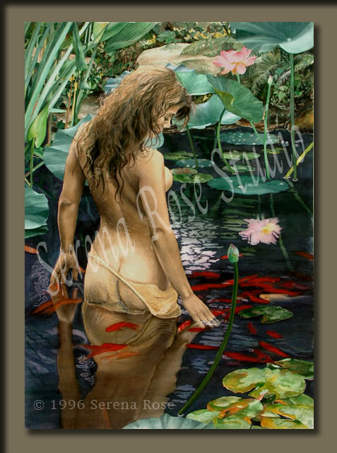 Beautiful painting of a young woman in the pond yearning to return to the natural world, to be at one with other living creatures, and to revel in the peace she finds there.