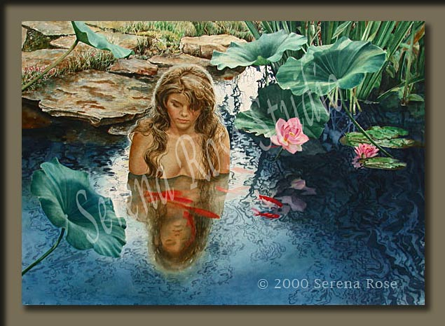 Watercolor painting by Serena Rose, title is Peaceful Moment, from the artist's series of artwork on women in nature