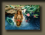 Peaceful Moment by Serena Rose is a watercolor painting depicting a young girl sitting in a pond enjoying the peace of a Garden of Eden setting.