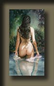 Somewhere To Go by Serena Rose is a beautiful tasteful nude painting of a young woman in a pond walking away from you to the edge of the pond. She is of holding a vase in one hand and drapery in the other.