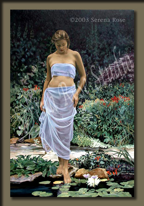 The Alluring Pond by Serena Rose. Museum quality canvas print of a beautiful woman
