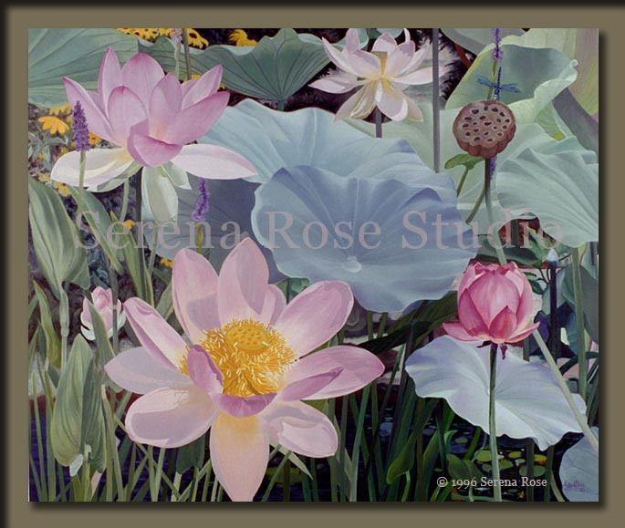 Oil Painting by Serena Rose, title is The Lotus Garden.