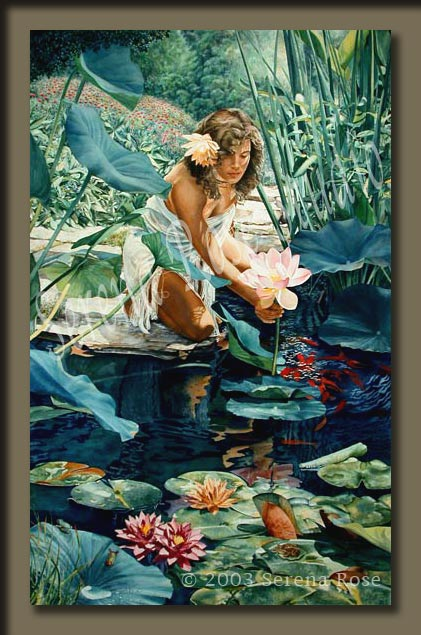 Watercolor painting by Serena Rose, painting of a woman looking at a lotus blossom by a pond.