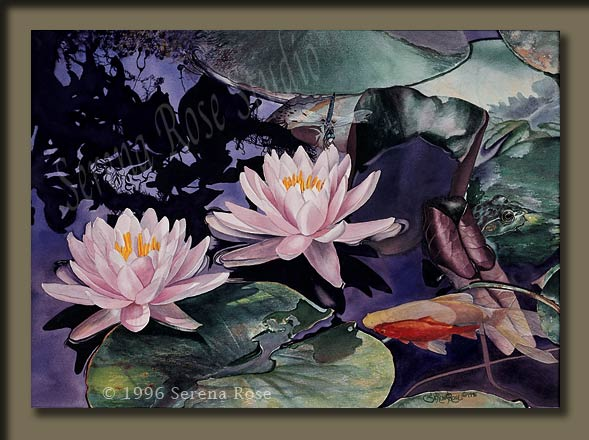 Watercolor painting with lilies, damsel fly, bullfrog and goldfish.